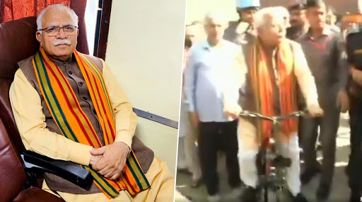 Haryana Assembly Elections 2019: CM Manohar Lal Khattar Takes Shatabdi Express Train And Rides Cycle to the Polling Booth, Watch Video