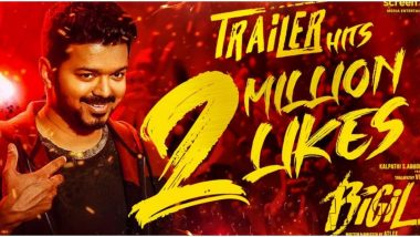 Fans Celebrate as Thalapathy Vijay's Bigil Trailer Hits 2 Million Likes on YouTube!