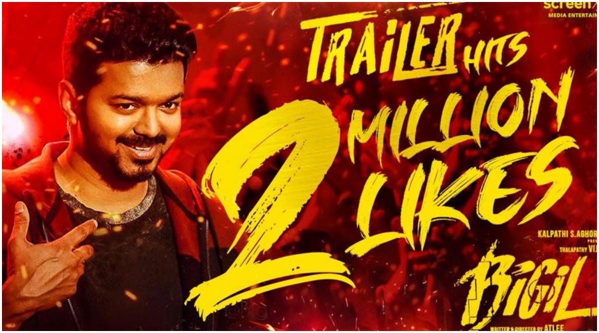 Fans Celebrate as Thalapathy Vijay's Bigil Trailer Hits 2 Million Likes on YouTube!