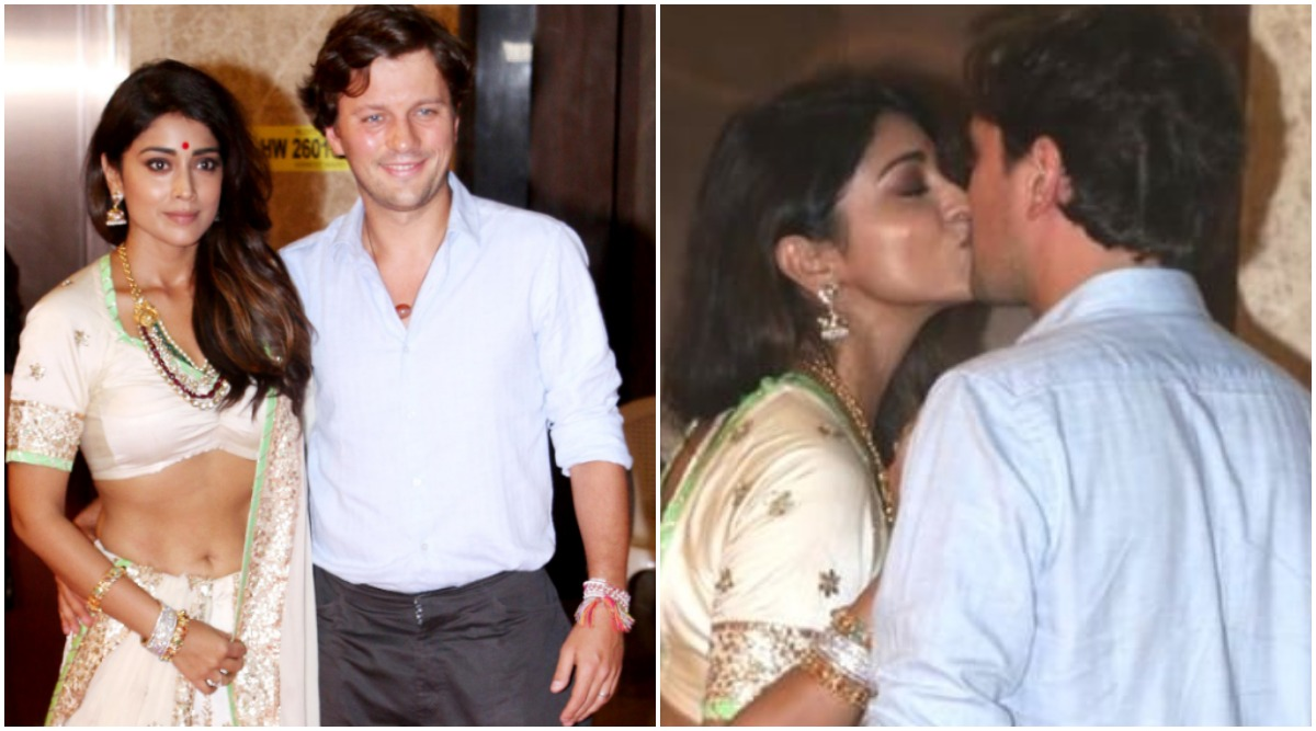 Kiss of Love! Shriya Saran and Andrei Koscheev Get Mushy at Ramesh Taurani's Diwali Party (Watch Video)