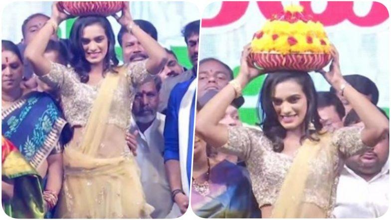 PV Sindhu Celebrates Floral Festival Bathukamma Sambaralu in Hyderabad (Watch Video)