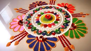 Easy Rangoli Designs for Colorful Diwali 2019: Quick and Simple Rangoli Patterns With Colours and New Pookalam Designs With Marigold Flowers for Deepawali (Watch DIY Videos)