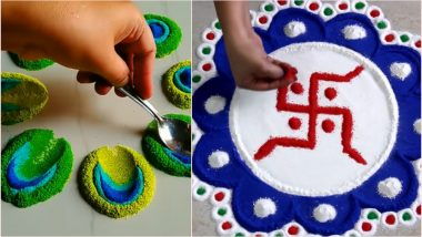 Easy Diwali 2019 Rangoli Designs to Make With Spoon: Latest Rangoli Patterns & Pookalam Designs for Deepavali That Are Quick to Make (Watch DIY Videos)