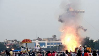 Dussehra 2019: India's Tallest Ravana Effigy, Constructed at an Outlay of Rs 50 Lakh in Chandigarh, Goes in Flames