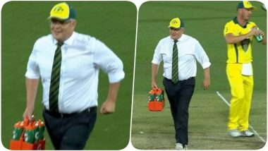 Australian Prime Minister Scott Morrison Turns Water Boy During Australia PM XI vs Sri Lanka (See Pics)