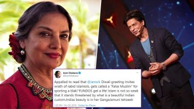 Shah Rukh Khan Gets Trolled For Posting Picture With Tilak on Diwali 2019; Shabana Azmi Comes To His Defence (View Tweet)