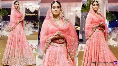 Sonam Kapoor Looks Every Bit of Beautiful in a Pink Lehenga as She Walks the Ramp for Abhinav Mishra's Show (View Pics)