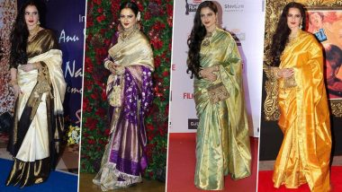 Rekha Birthday Special: The Legendary Actress' Love for Kanjeevaram Sarees cannot be Even and it's as Deep as our Admiration for Her (View Pics)
