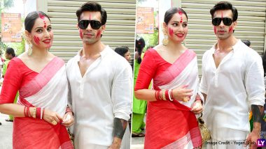Sindoor Khela 2019 Photos: Bipasha Basu Celebrates Bijoya Dashami, Poses With Husband Karan Singh Grover All Smeared With Sindur