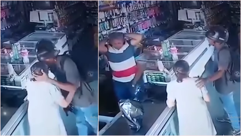 Armed Robber Kisses Old Woman's Forehead Instead of Looting Her Money at a Brazilian Medical Store! Watch Viral Video of This Random Kind Act