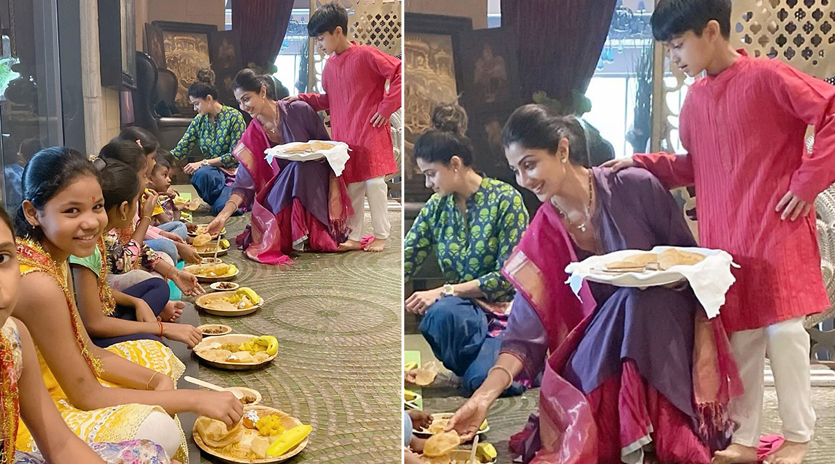 Kanjak Puja 2019: Shilpa Shetty Celebrates Kanya Poojan on Durga Ashtami With Son Vihaan and Cute Little Girls (View Pics)