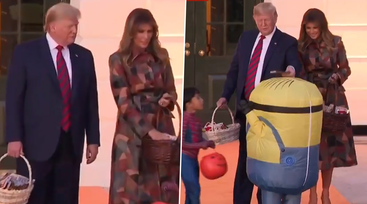 Donald and Melania Trump Place Halloween Candy on Head of Child Dressed As Minion, Netizens Troll Them for Being Insensitive (Watch Viral Video)
