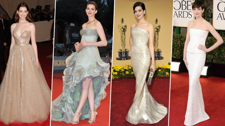 Anne Hathaway Birthday Special: 7 of Her Best Red Carpet Moments that Look Inspired From a Princess' Fashion Diaries (View Pics)
