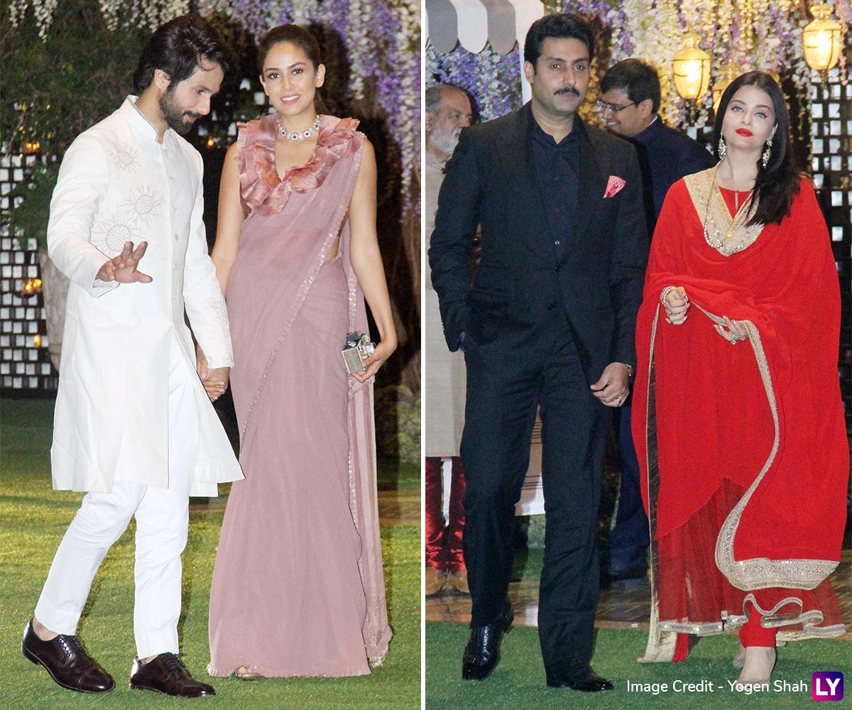 Aishwarya Rai Bachchan, Abhishek Bachchan and Shahid Kapoor at the bash.