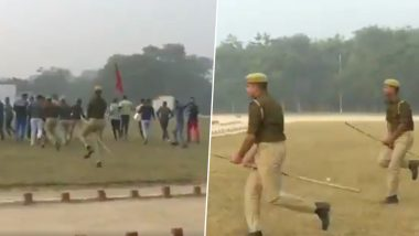 UP Police Gallop Like Horses In a Bizarre Mock Drill, Netizens Compare Cops With Harry Potter Flying On His Broomstick! (Watch Video