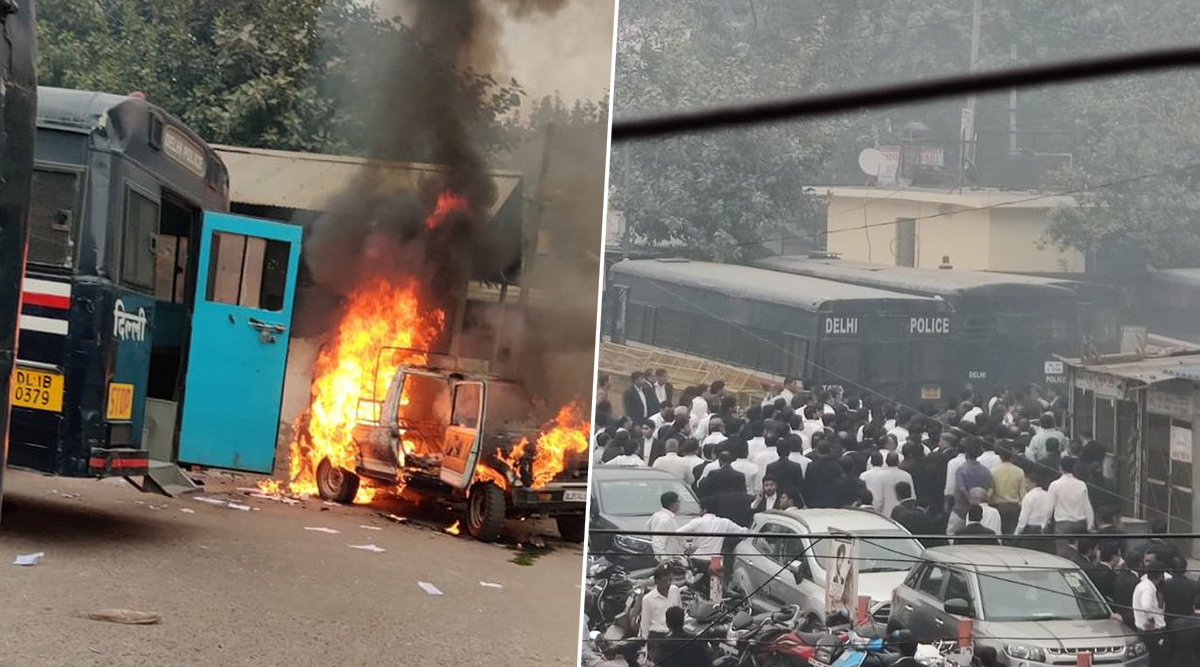 Delhi: Firing Reported at Tis Hazari Court as Scuffle Breaks Out Between Police and Lawyers; 1 Injured, Vehicle Set Ablaze