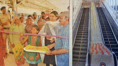 Construction Worker and Her Daughter Inaugurate New Escalator at Bengaluru Railway Station After MP's Event Cancelled Due to Prohibitory Orders; Pics Go Viral