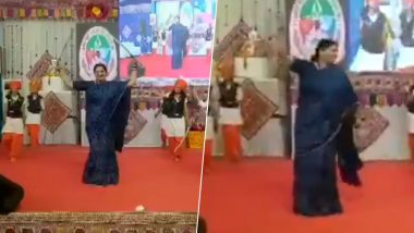 Gujarat: Smriti Irani, Union Minister and BJP Leader, Performs Traditional 'Talwar Raas' in Bhavnagar; Watch Video