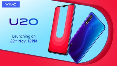 Vivo U20 Smartphone To Be Launched in India on November 22; Expected Price, Features, Specifications & More