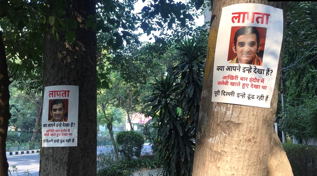 Delhi: Missing Posters of BJP MP and Former Cricketer Gautam Gambhir Seen in ITO Area Days After He Missed Air Pollution Meet; See Pics
