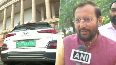 Prakash Javadekar Arrives at Parliament on 'Hyundai Kona' Electric Car to Attend First Day of Winter Session, See Pics