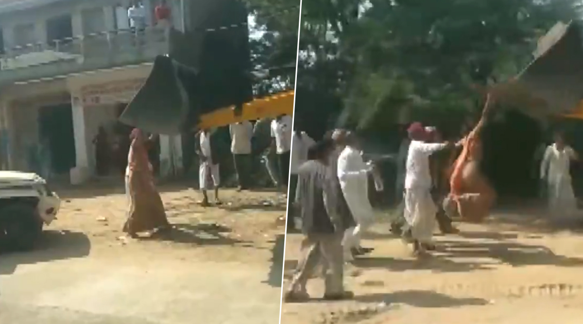 Rajasthan: Woman Sarpanch Climbs JCB During Anti-Encroachment Drive in Jalore After Being Attacked by Trespasser (Watch Video)