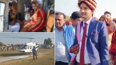 Vidai in Helicopter! Rajasthan Man Arranges Grand Farewell For His Daughter After Marriage, See Pics of Happy Bride