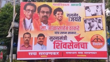 Uddhav Thackeray Swearing-In: Poster Carrying Old Pictures of Bal Thackeray With Indira Gandhi And Sharad Pawar Put Up Near Sena Bhawan