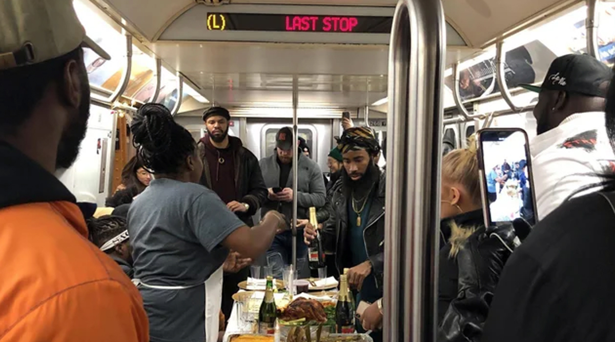 Thanksgiving 2019: NYC Subway Riders Have a Full Thanksgiving Dinner on the L Train and the Video Is Going Viral!