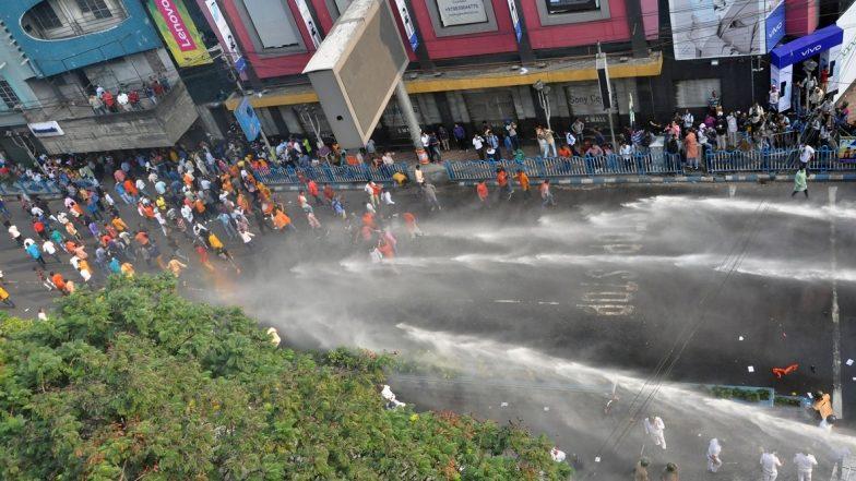 West Bengal: Police Use Batons, Tear Gas on BJP Protestors Outside Kolkata Municipal Corporation Headquarters