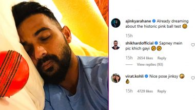 Virat Kohli Comments, 'Nice Pose Jinksy' As Ajinkya Rahane Posts Picture of Himself Sleeping With Pink Ball Ahead of India vs Bangladesh Day-Night Test 2019