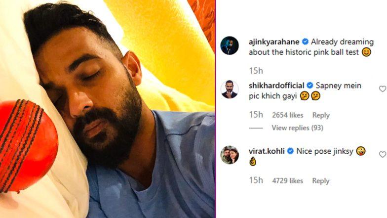 Virat Kohli Comments, 'Nice Pose Jinksy' As Ajinkya Rahane Posts Picture of Himself Sleeping With Pink Ball Ahead of India vs Bangladesh Day-Night Test 2019