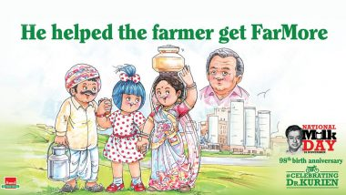 National Milk Day 2019: Amul Topical Pays Tribute to Dr Verghese Kurien, Father of Milk Revolution on His 98th Birth Anniversary