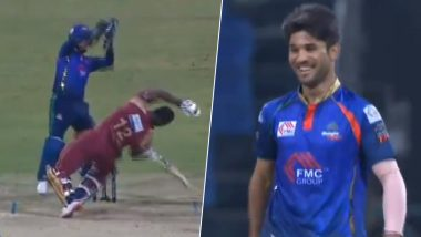 Abu Dhabi T10 League 2019: Andre Russell Falls on the Ground Against a Deadly Bouncer by Qais Ahmad During Bangla Tigers vs Northern Warriors Match (Watch Video)