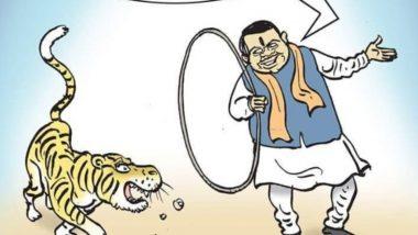 Maharashtra Government Formation: Delhi BJP Spokesperson Tajinder Bagga Posts 'Ringmaster' Devendra Fadnavis Cartoon Taking Potshots at Alliance Partner Shiv Sena