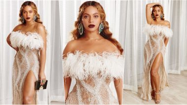 Beyonce Casts a Magic Spell in Super Sexy 'Angelic' Silver Sheer Dress With Faux Fur Wrap at Husband Jay-Z's Charity Event, View Pics of Queen Bey!
