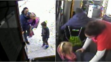 Kind Bus Driver Stops To Save Children Walking Barefoot in Freezing Temperatures in Wisconsin (Watch Video)