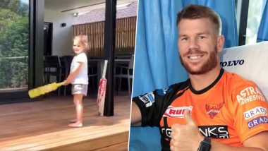 David Warner's Daughter Indi Rae Says 'I Am Virat Kohli' While Batting, Australian Batsman's Wife Candice Shares Eye Catching Video on Social Media