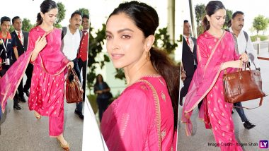 Deepika Padukone's Latest Airport Outfit Is a Beautiful Pink Ethnic Attire! (View Pretty Pics)