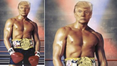 Donald Trump Shares Bizarre Photo of His Head Photoshopped With Sylvester Stallone's Body From Rocky III Poster, Twitter Erupts in Laughter!