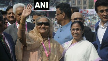 India vs Bangladesh, Day-Night Test 2019: Sheikh Hasina, West Bengal CM Mamata Banerjee Ring Customary Eden Bell with BCCI President Sourav Ganguly