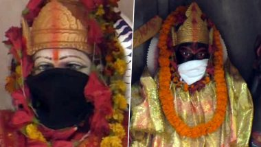 Goddesses Durga And Kali Given Anti-Pollution Masks at Varanasi Temple as Air Quality Dips Terribly (See Pictures)