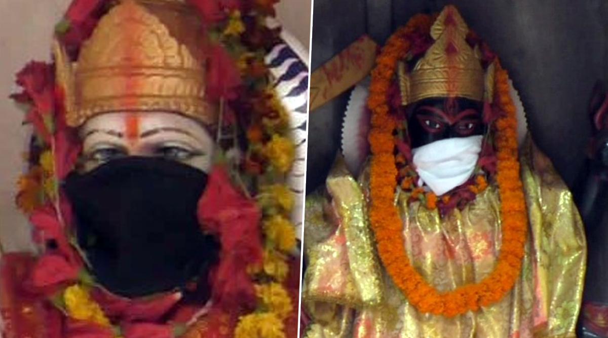 Goddesses Durga And Kali Given Anti-Pollution Masks at Varanasi Temple as Air Quality Dips Terribly (See Pictures)