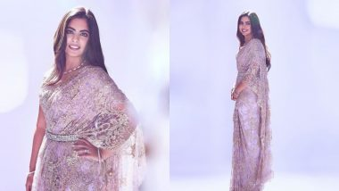 Isha Ambani Looks Divine In A Dainty Lilac Saree By Abu Jani And Sandeep Khosla - View Pics