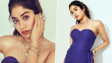 Janhvi Kapoor's Purple Dress With Its Dangerously Daring Thigh-High Slit Is Making Us Gasp for Air (View Pics)