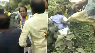 West Bengal By-Elections 2019: BJP's Joy Prakash Majumdar Heckled, Kicked Allegedly by TMC Workers, Watch Video