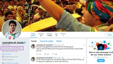 Jyotiraditya Scindia Removes Congress Identity From Twitter Bio, Then Issues Clarification