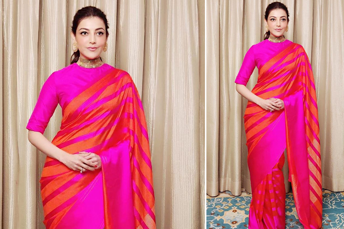 Kajal Aggarwal in Raw Mango for Comali Success Party (3)