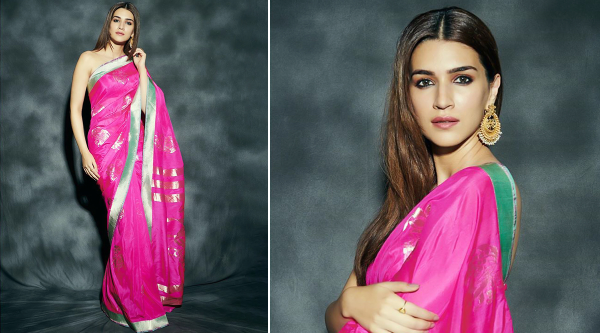 Kriti Sanon's Pretty Pink Saree for Panipat Promotions Is Not Just Splendid but Also a Wardrobe Must-Have! View Pic
