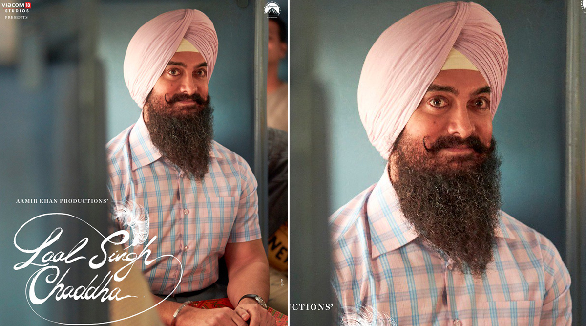 Laal Singh Chaddha Poster: Aamir Khan's Avatar in a Pink-Coloured Turban, Rolled-Up Moustache and Long Beard Grabs Our Attention (View Pic)